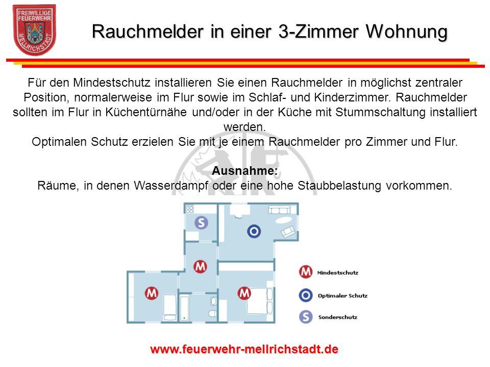 www.feuerwehr-mellrichstadt.de Für den Mindestschutz installieren Sie einen Rauchmelder in möglichst zentraler Position, normalerweise im Flur sowie i