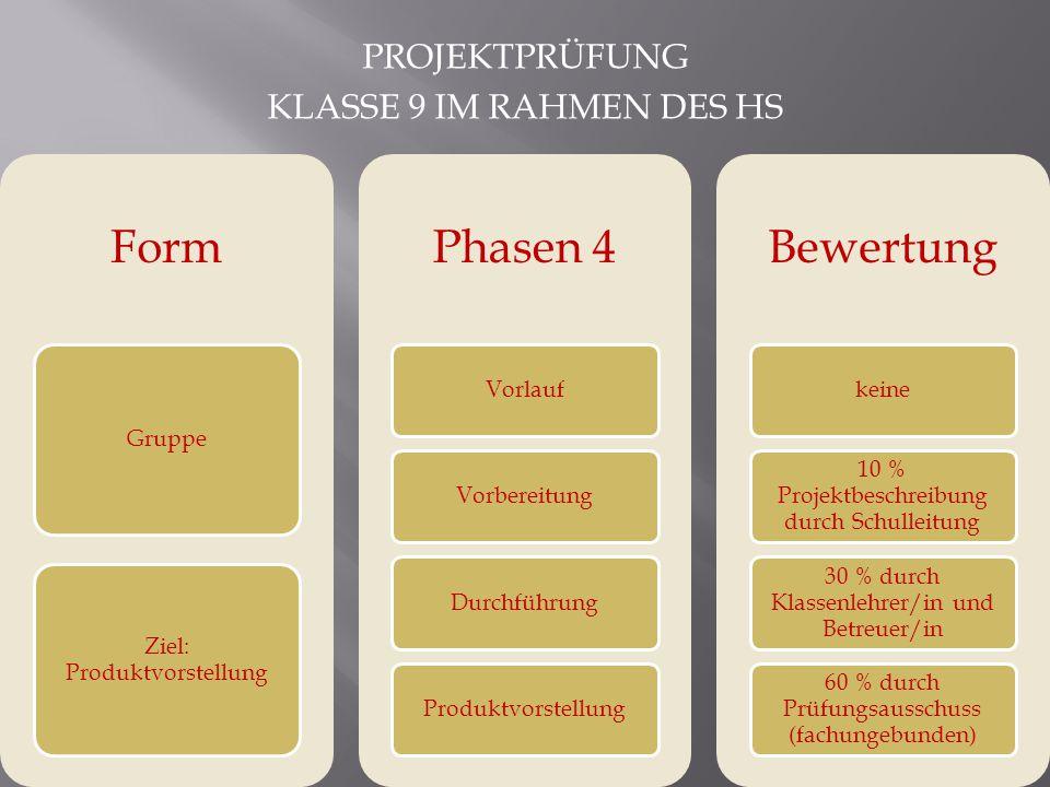 PROJEKTPRÜFUNG KLASSE 9 IM RAHMEN DES HS Form Gruppe Ziel: Produktvorstellung Phasen 4 VorlaufVorbereitungDurchführungProduktvorstellung Bewertung kei