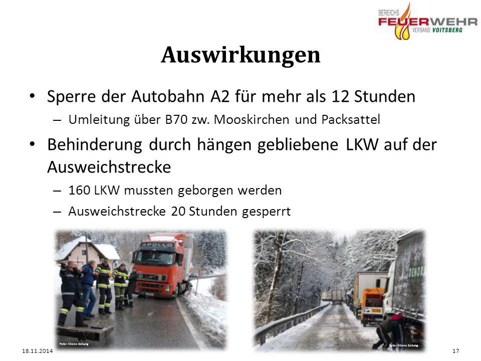 Auswirkungen Sperre der Autobahn A2 für mehr als 12 Stunden – Umleitung über B70 zw.