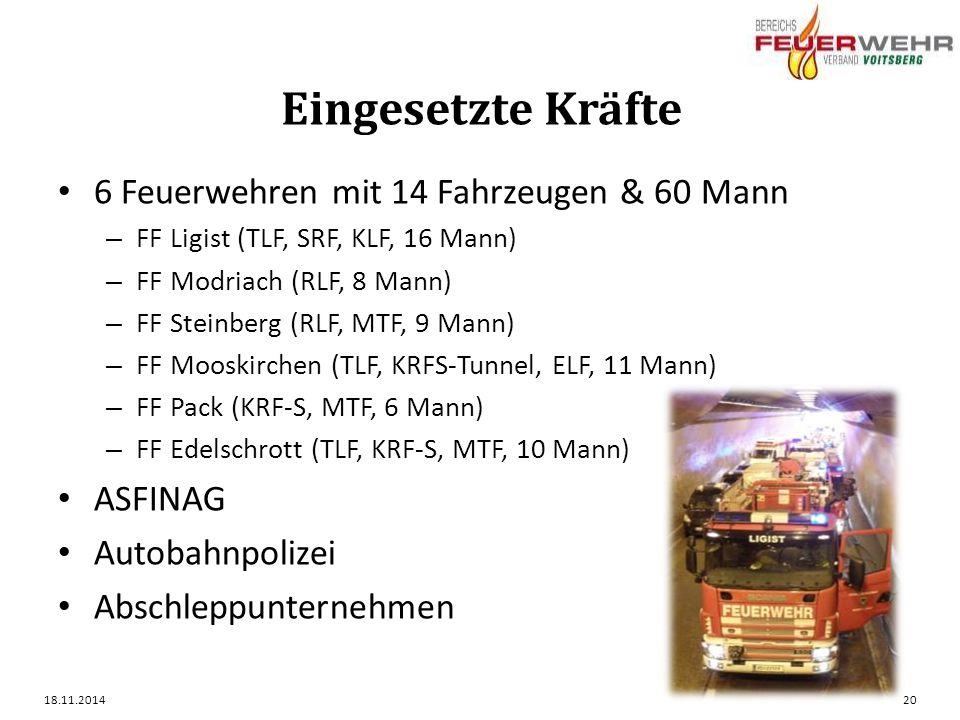 Eingesetzte Kräfte 6 Feuerwehren mit 14 Fahrzeugen & 60 Mann – FF Ligist (TLF, SRF, KLF, 16 Mann) – FF Modriach (RLF, 8 Mann) – FF Steinberg (RLF, MTF, 9 Mann) – FF Mooskirchen (TLF, KRFS-Tunnel, ELF, 11 Mann) – FF Pack (KRF-S, MTF, 6 Mann) – FF Edelschrott (TLF, KRF-S, MTF, 10 Mann) ASFINAG Autobahnpolizei Abschleppunternehmen 18.11.201420