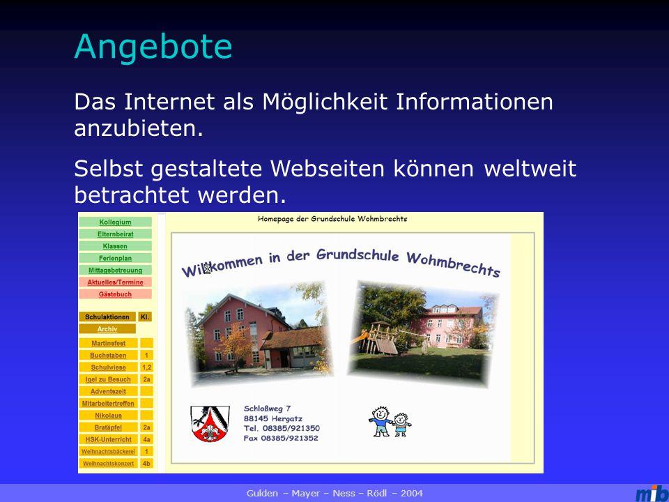 Angebote Das Internet als Möglichkeit Informationen anzubieten.