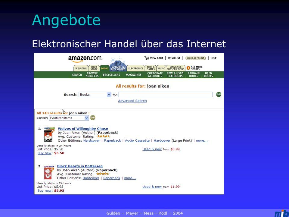 Angebote Elektronischer Handel über das Internet Gulden – Mayer – Ness – Rödl – 2004