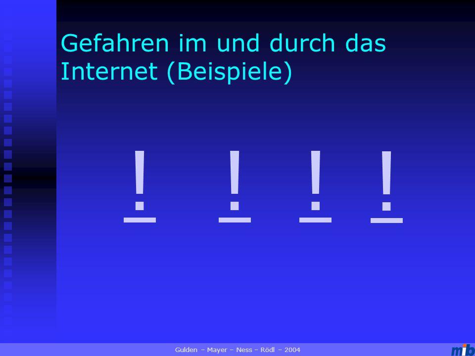 Gefahren im und durch das Internet (Beispiele) !!! ! Gulden – Mayer – Ness – Rödl – 2004