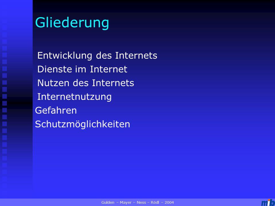 Gliederung Entwicklung des Internets Dienste im Internet Internetnutzung Nutzen des Internets Gefahren Schutzmöglichkeiten Gulden – Mayer – Ness – Rödl – 2004
