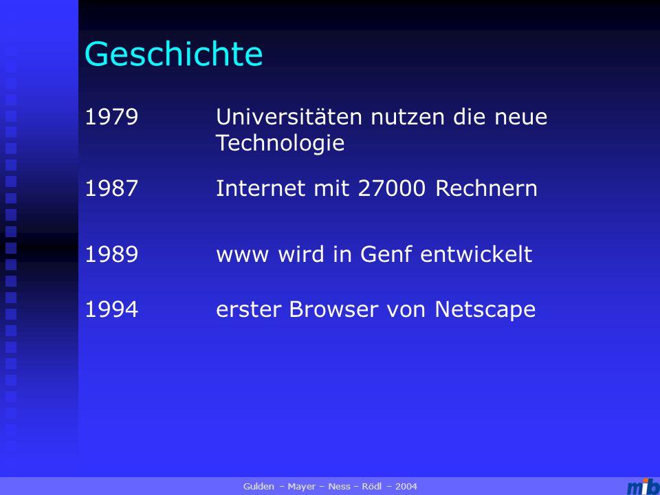 Geschichte 1979Universitäten nutzen die neue Technologie 1987Internet mit 27000 Rechnern 1989www wird in Genf entwickelt 1994erster Browser von Netscape Gulden – Mayer – Ness – Rödl – 2004