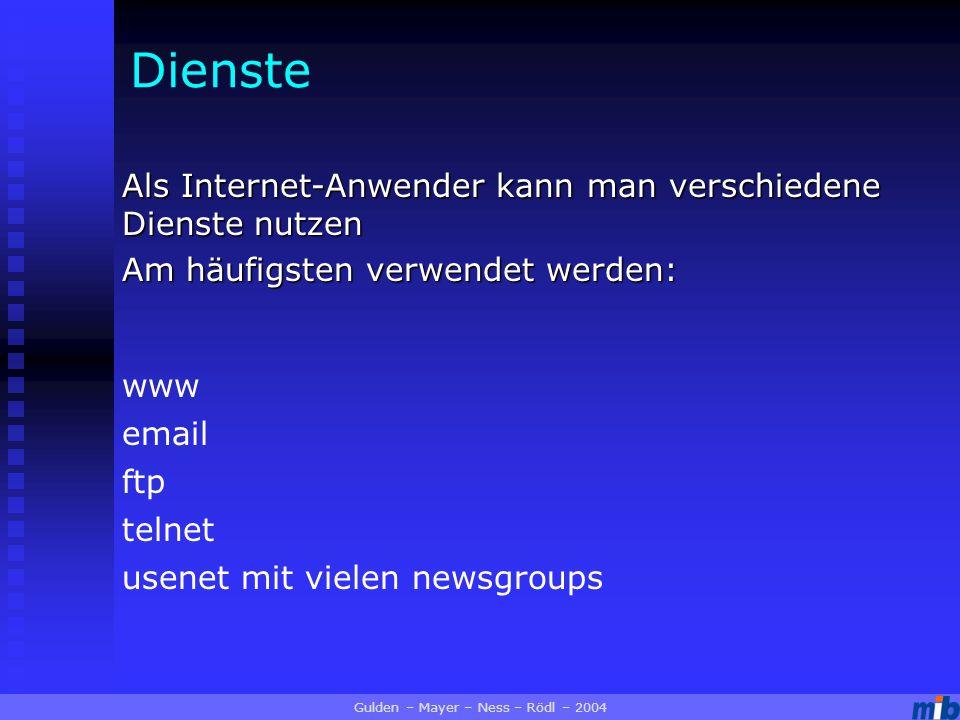 Dienste Als Internet-Anwender kann man verschiedene Dienste nutzen Am häufigsten verwendet werden: Gulden – Mayer – Ness – Rödl – 2004 www email ftp telnet usenet mit vielen newsgroups