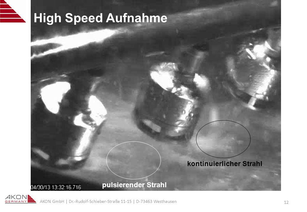 AKON GmbH | Dr.-Rudolf-Schieber-Straße 11-15 | D-73463 Westhausen 12 High Speed Aufnahme kontinuierlicher Strahl pulsierender Strahl