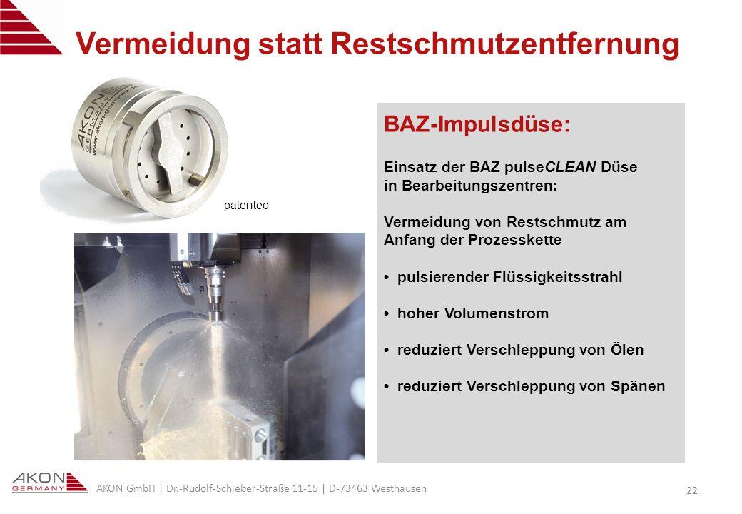 AKON GmbH | Dr.-Rudolf-Schieber-Straße 11-15 | D-73463 Westhausen 22 Vermeidung statt Restschmutzentfernung BAZ-Impulsdüse: Einsatz der BAZ pulseCLEAN Düse in Bearbeitungszentren: Vermeidung von Restschmutz am Anfang der Prozesskette pulsierender Flüssigkeitsstrahl hoher Volumenstrom reduziert Verschleppung von Ölen reduziert Verschleppung von Spänen patented