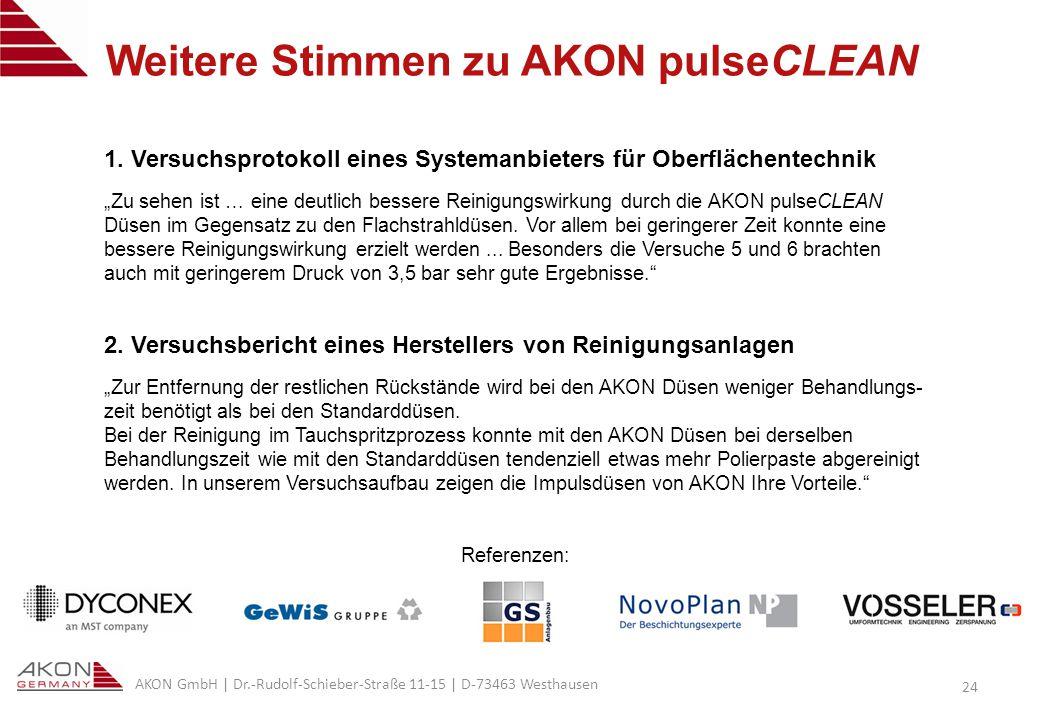 AKON GmbH | Dr.-Rudolf-Schieber-Straße 11-15 | D-73463 Westhausen 24 Weitere Stimmen zu AKON pulseCLEAN 1.