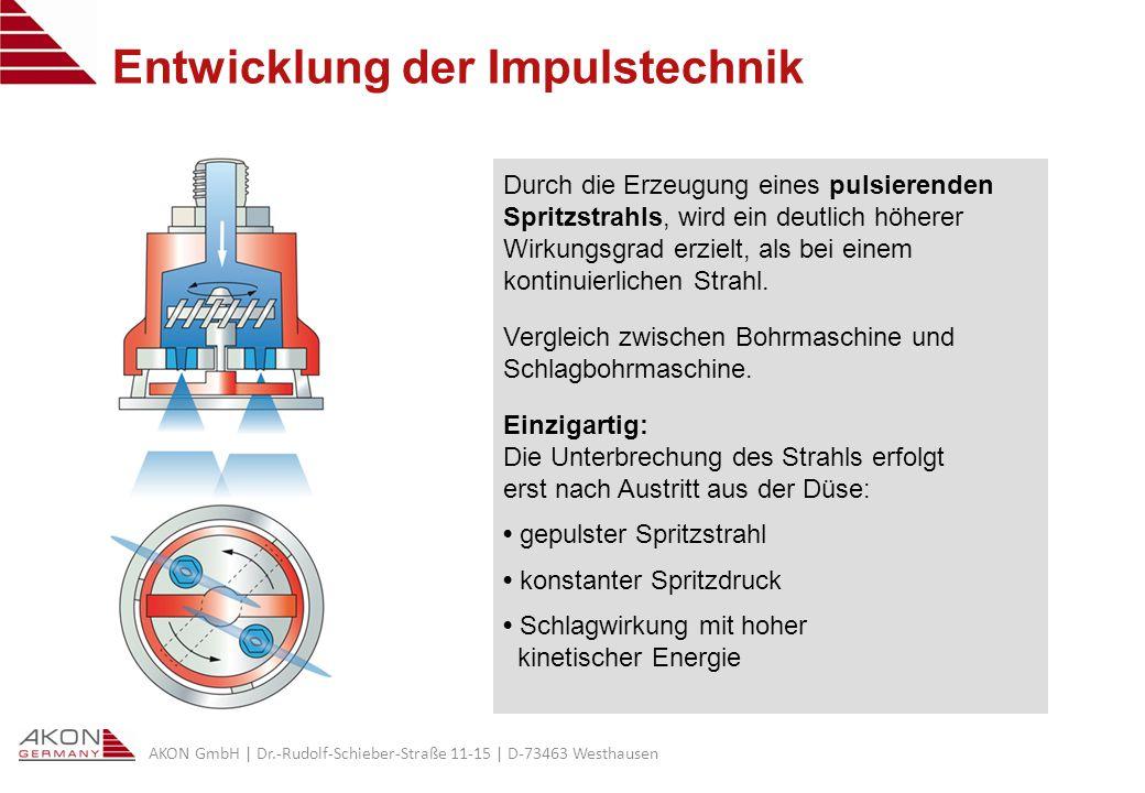 AKON GmbH | Dr.-Rudolf-Schieber-Straße 11-15 | D-73463 Westhausen Entwicklung der Impulstechnik Durch die Erzeugung eines pulsierenden Spritzstrahls, wird ein deutlich höherer Wirkungsgrad erzielt, als bei einem kontinuierlichen Strahl.