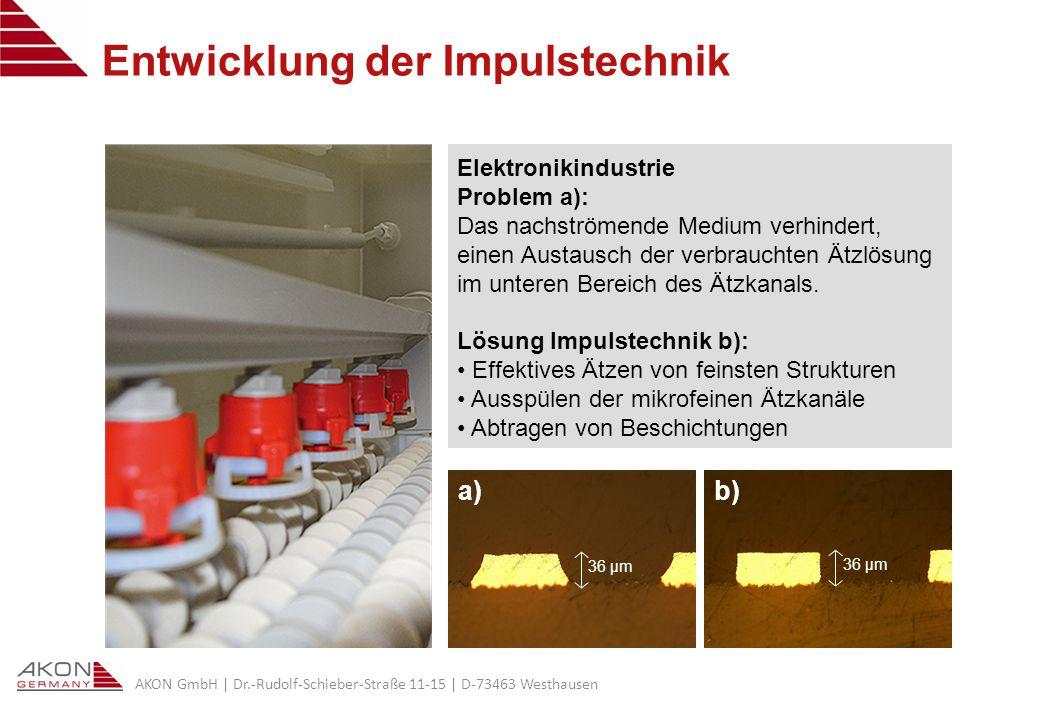 AKON GmbH | Dr.-Rudolf-Schieber-Straße 11-15 | D-73463 Westhausen Entwicklung der Impulstechnik a) 36 µm b) 36 µm Elektronikindustrie Problem a): Das nachströmende Medium verhindert, einen Austausch der verbrauchten Ätzlösung im unteren Bereich des Ätzkanals.