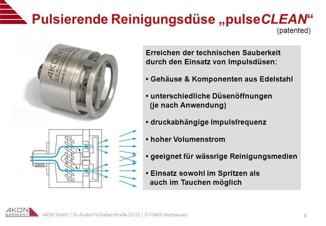 AKON GmbH | Dr.-Rudolf-Schieber-Straße 11-15 | D-73463 Westhausen 17 Die technische Sauberkeit im Visier Vorteile der patentierten Impulsdüse: Erhöhung der Reinigungsqualität & -leistung (technische Sauberkeit) Senkung der Ausschussrate und der Nacharbeit Reduzierung der Reinigungsmedien (bis zu 20%) kürzere Maschinenlaufzeiten (CO 2 -Reduzierung) Absenken der Reinigungstemperatur (z.B.