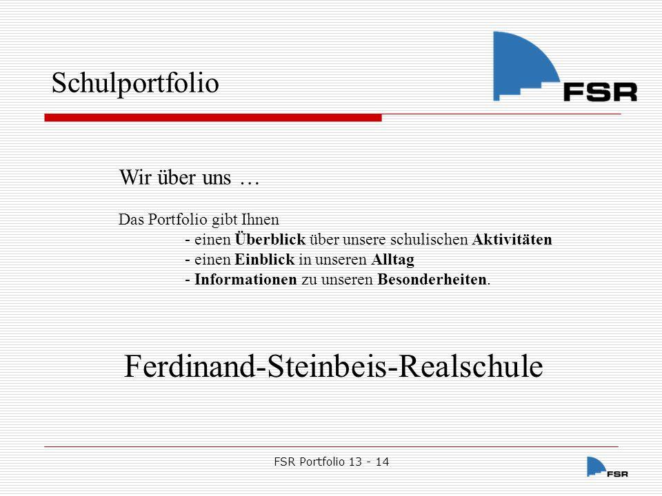 FSR Portfolio 13 - 14 Schulportfolio 1.Voraussetzungen und Bedingungen 2.Prozesse 3.