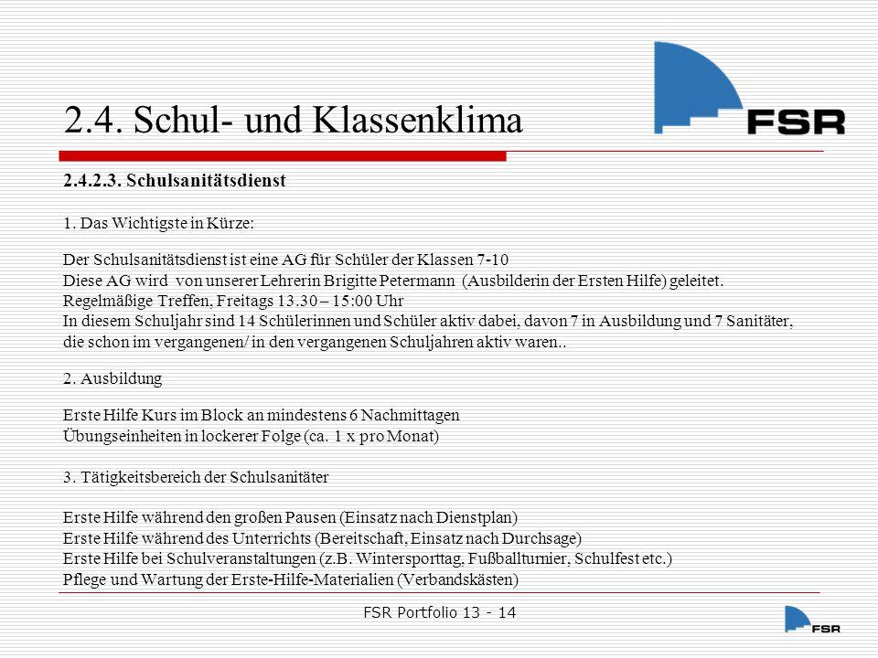 FSR Portfolio 13 - 14 2.5.Partnerschaften 2.5.1.