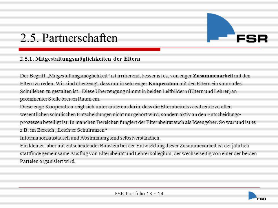 FSR Portfolio 13 - 14 2.5.Partnerschaften 2.5.2.