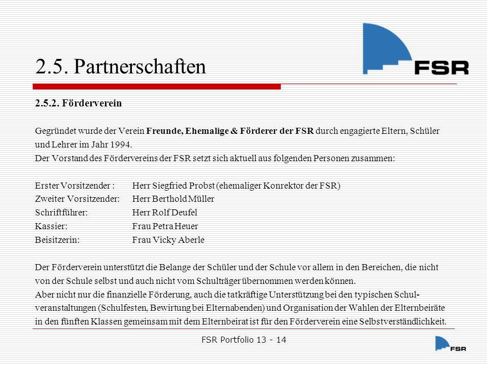 FSR Portfolio 13 - 14 2.5.Partnerschaften 2.5.2.1.