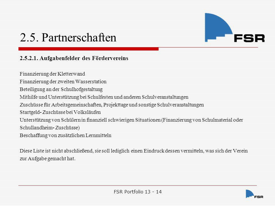 FSR Portfolio 13 - 14 2.5.Partnerschaften 2.5.3.