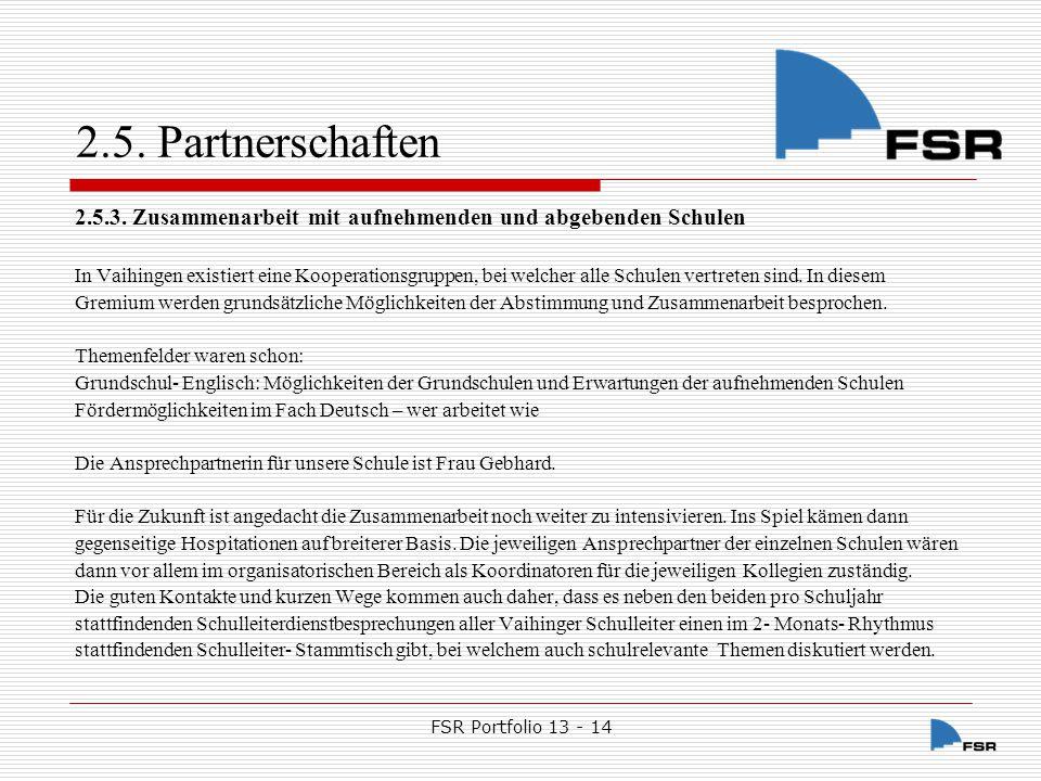 FSR Portfolio 13 - 14 2.5.Partnerschaften 2.5.4.