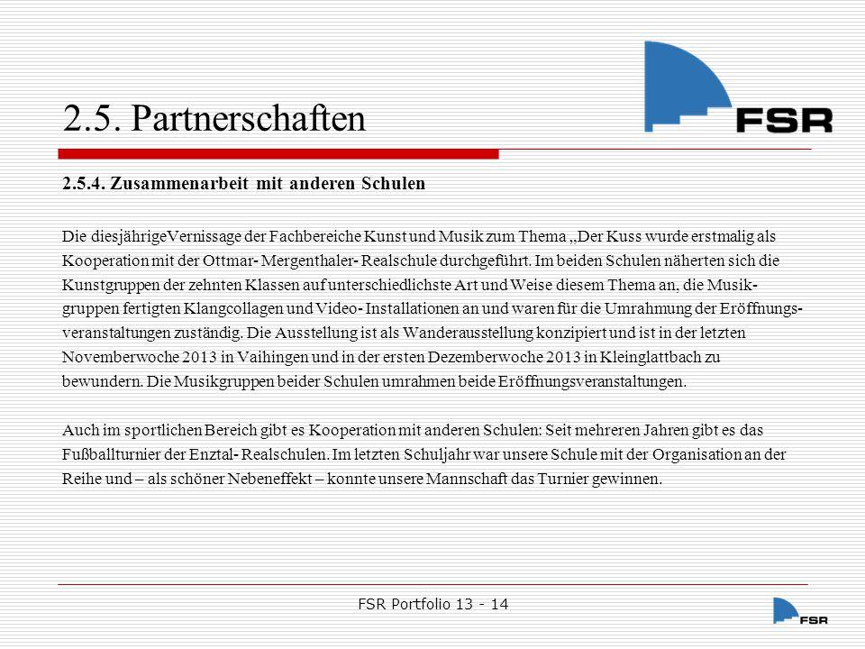 FSR Portfolio 13 - 14 2.5.Partnerschaften 2.5.5.