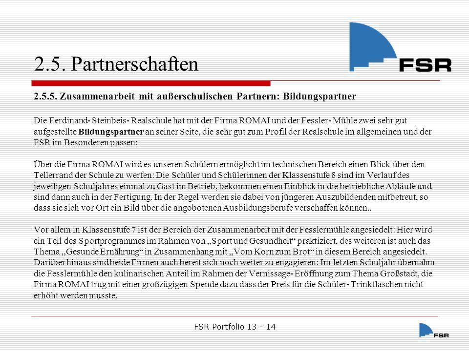 FSR Portfolio 13 - 14 2.5.Partnerschaften 2.5.6.