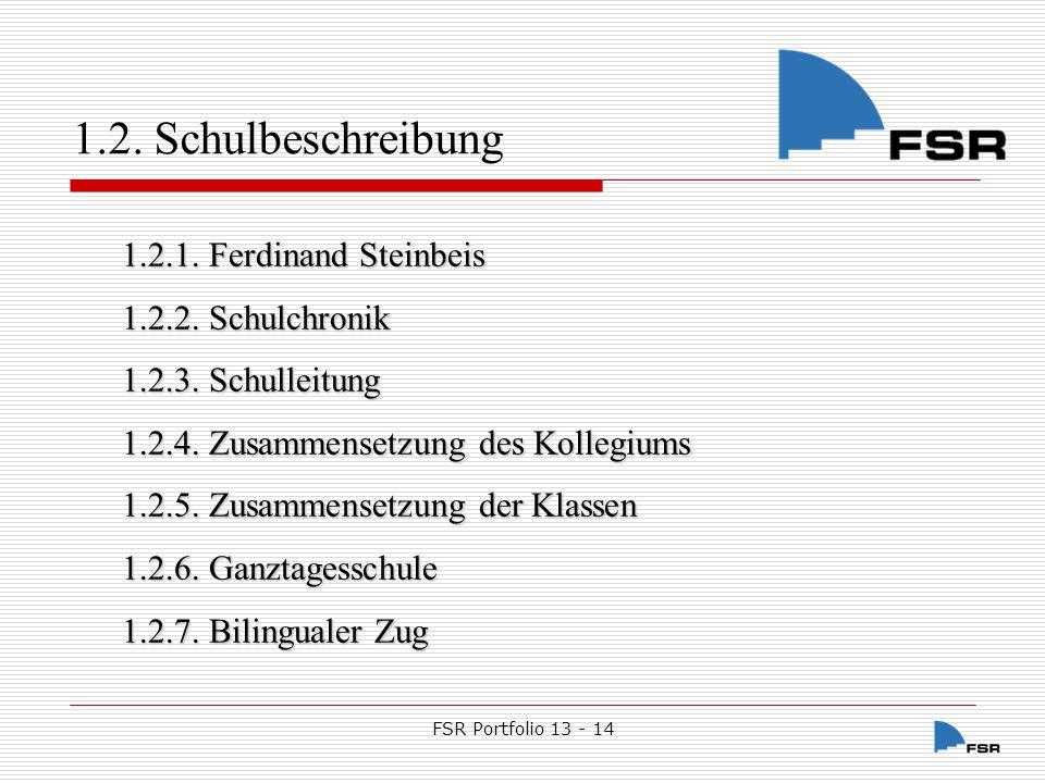 FSR Portfolio 13 - 14 1.2.Schulbeschreibung 1.2. Schulbeschreibung 1.2.1.