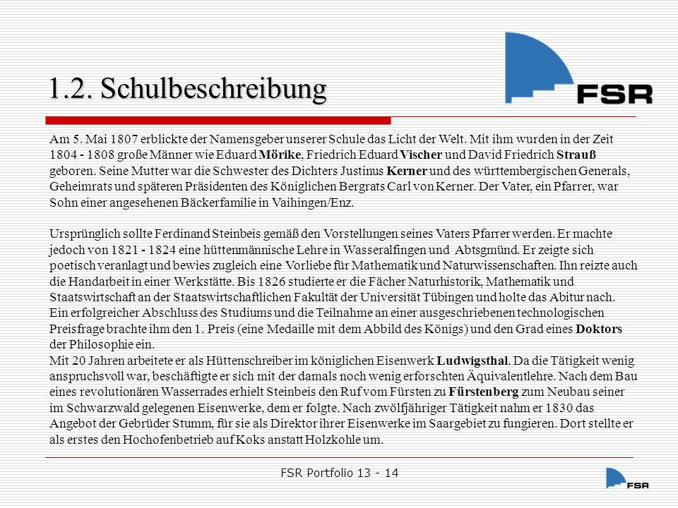 FSR Portfolio 13 - 14 1.2.Schulbeschreibung 1.2.