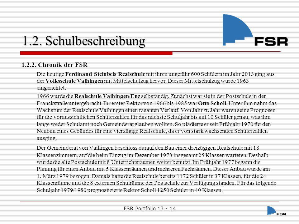 FSR Portfolio 13 - 14 1.2.Schulbeschreibung Nach dem Bezug des neuen Schulgebäudes am 15.