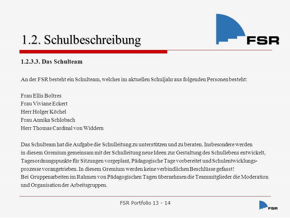 FSR Portfolio 13 - 14 1.2.Schulbeschreibung 1.2.4.