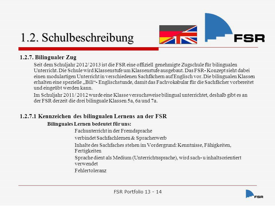 FSR Portfolio 13 - 14 1.2.Schulbeschreibung 1.2.7.2.