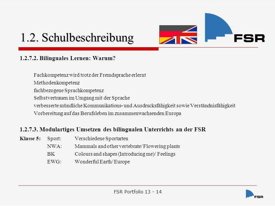 FSR Portfolio 13 - 14 1.2.Schulbeschreibung 1.2.7.3.