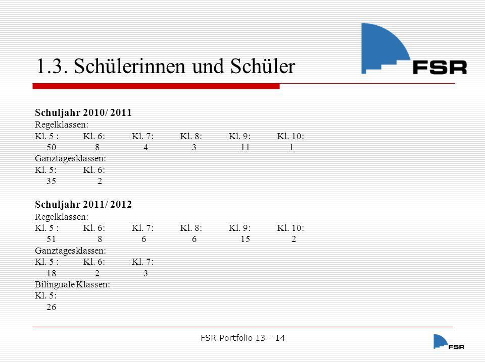 FSR Portfolio 13 - 14 1.3.Schülerinnen und Schüler Schuljahr 2012/ 2013 Regelklassen: Kl.