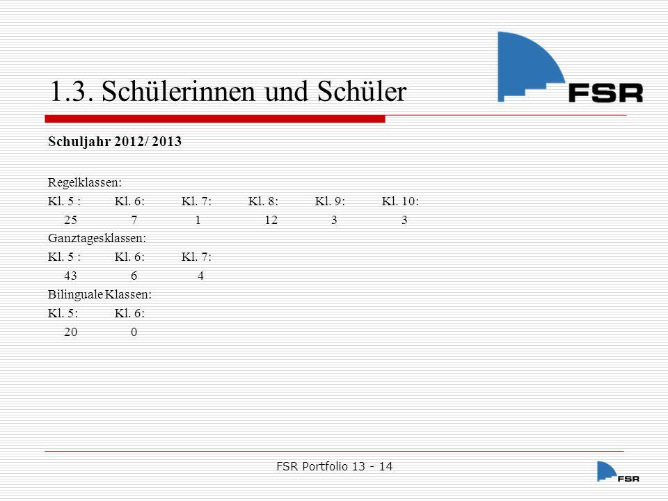 FSR Portfolio 13 - 14 1.3.Schülerinnen und Schüler Schuljahr 2013 /2014 Regelklassen: Kl.
