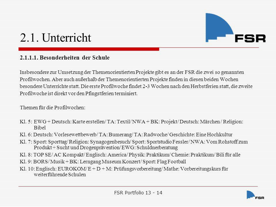 FSR Portfolio 13 - 14 2.1.Unterricht 2.1.1.1.