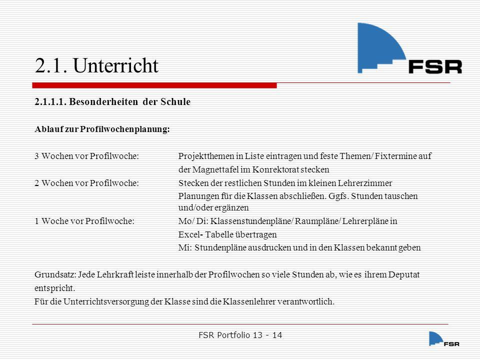 FSR Portfolio 13 - 14 2.1.Unterricht 2.1.1.2.
