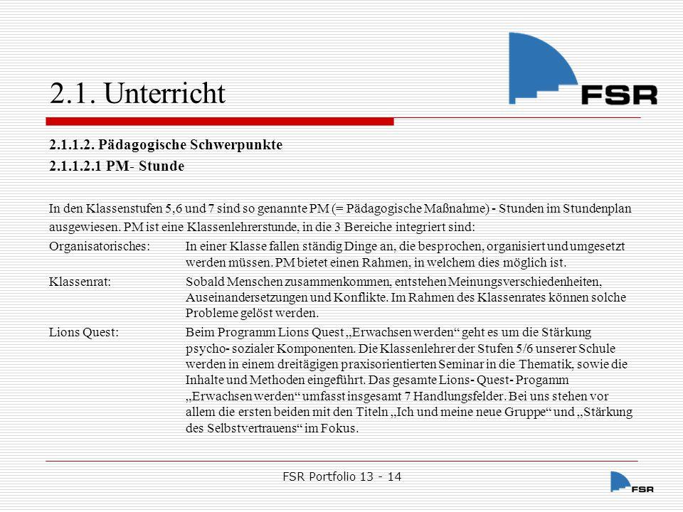 FSR Portfolio 13 - 14 2.1.Unterricht 2.1.1.2.2.