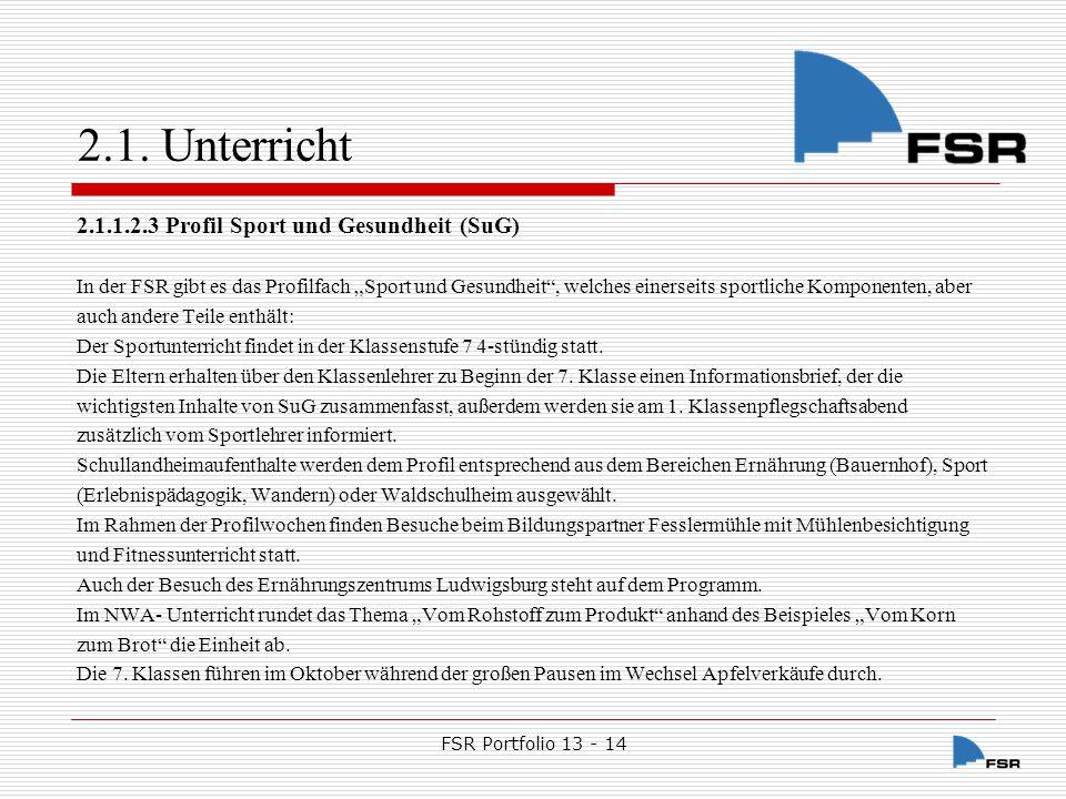 FSR Portfolio 13 - 14 2.1.Unterricht 2.1.1.2.3.