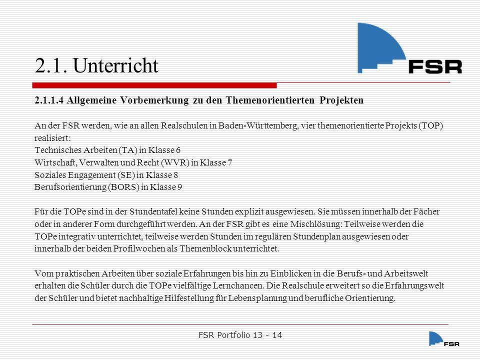 FSR Portfolio 13 - 14 2.1.Unterricht 2.1.1.4.1.