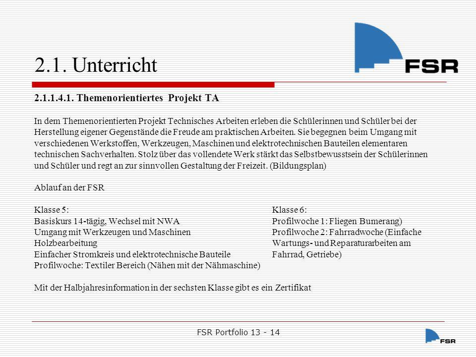 FSR Portfolio 13 - 14 2.1.Unterricht 2.1.1.4.2.