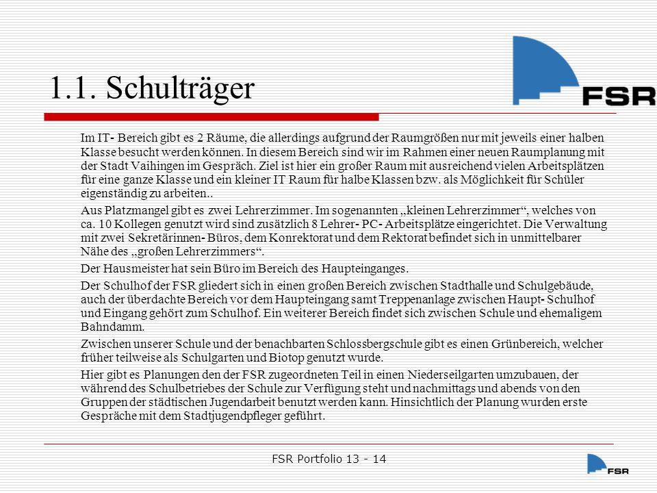 FSR Portfolio 13 - 14 1.1.Schulträger 1.1.1.1.