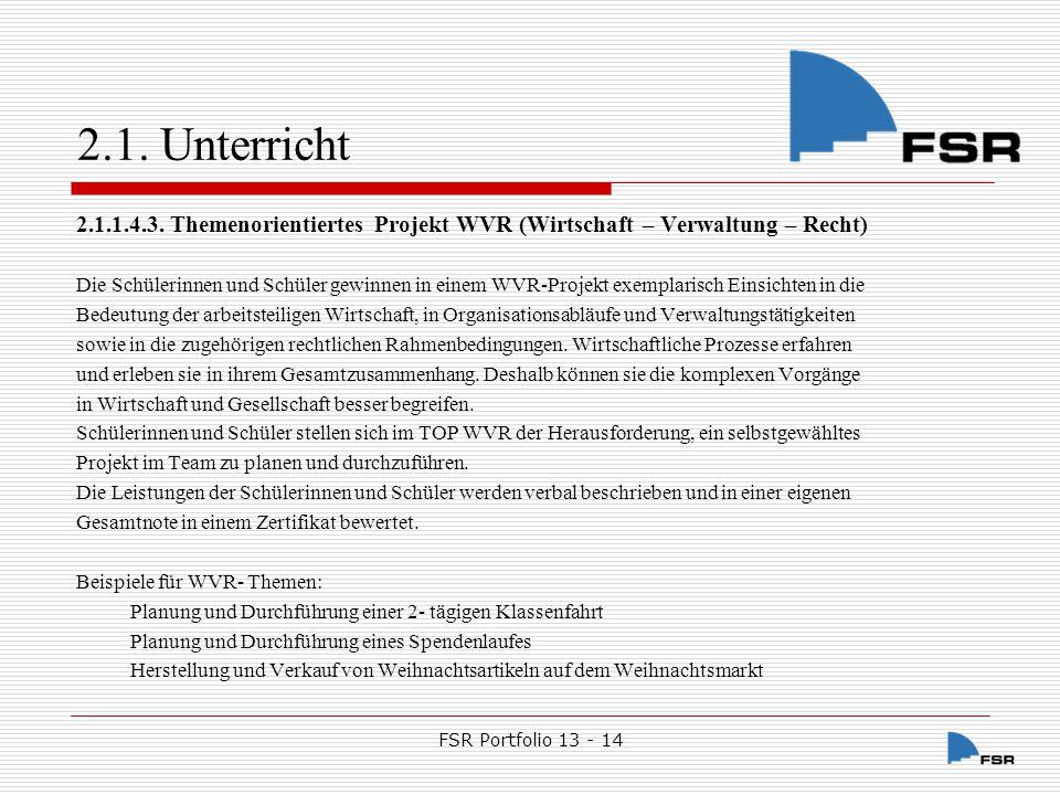 FSR Portfolio 13 - 14 2.1.Unterricht 2.1.1.4.4.