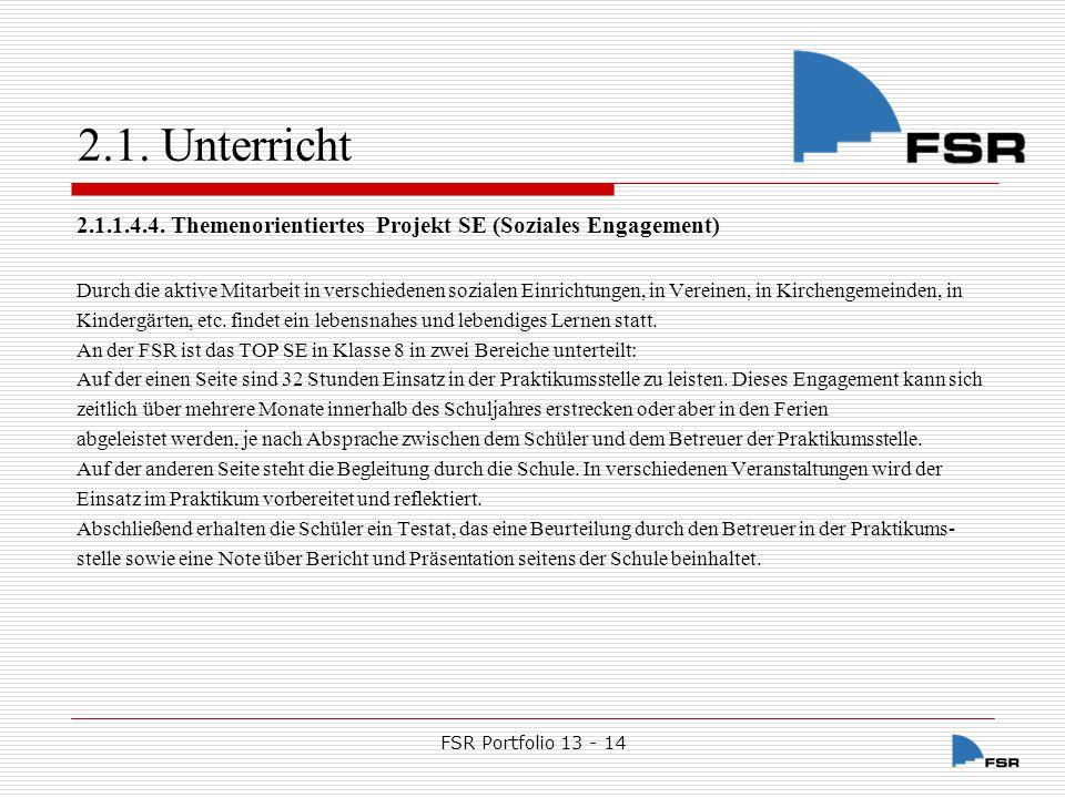 FSR Portfolio 13 - 14 2.1.Unterricht 2.1.1.4.5.