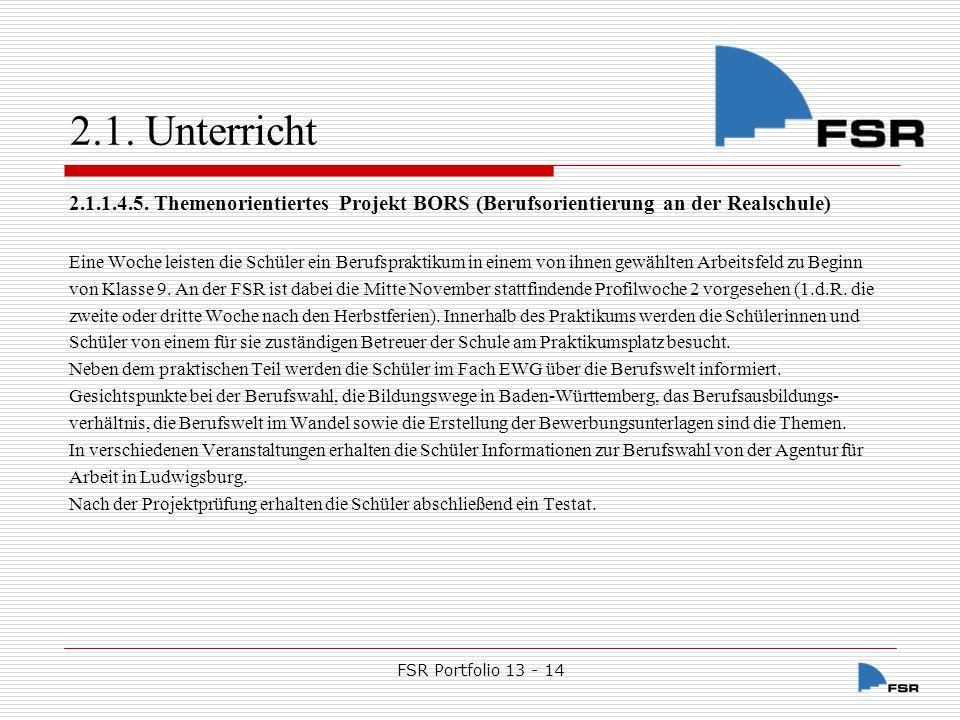 FSR Portfolio 13 - 14 2.1.Unterricht 2.1.1.5.
