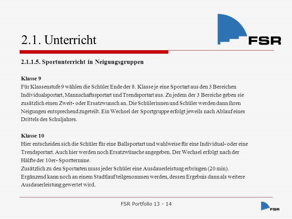 FSR Portfolio 13 - 14 2.1.Unterricht 2.1.1.6.