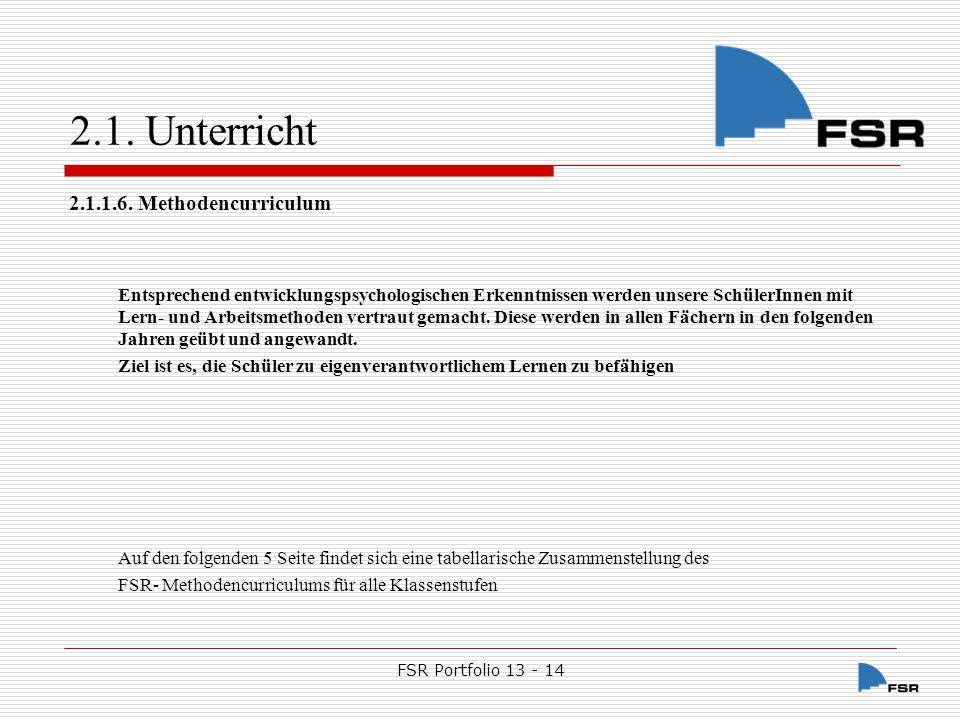 FSR Portfolio 13 - 14 2.1.Unterricht Klasse 5 1.