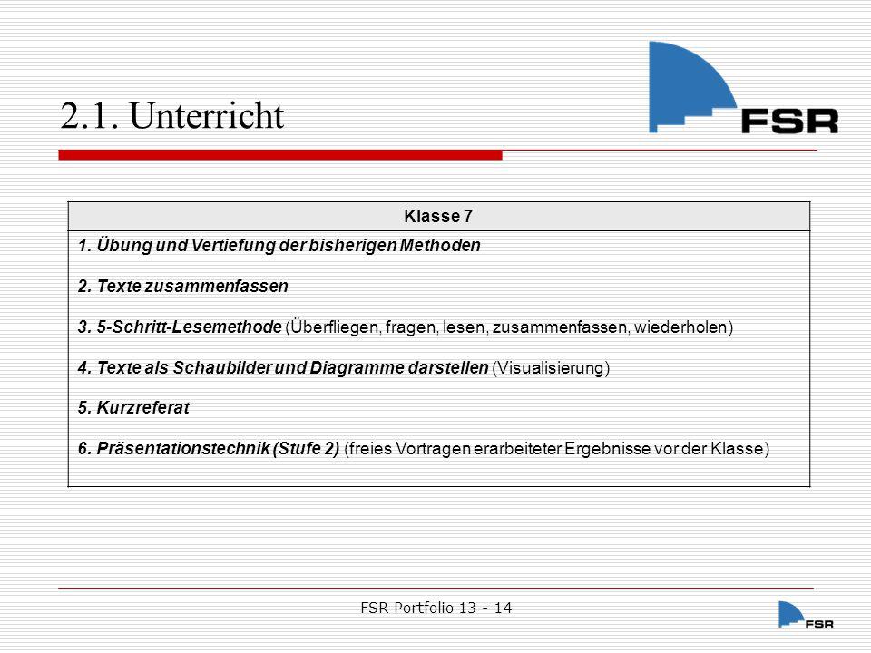 FSR Portfolio 13 - 14 2.1.Unterricht Klasse 8 1. Übung und Vertiefung der bisherigen Methoden 2.