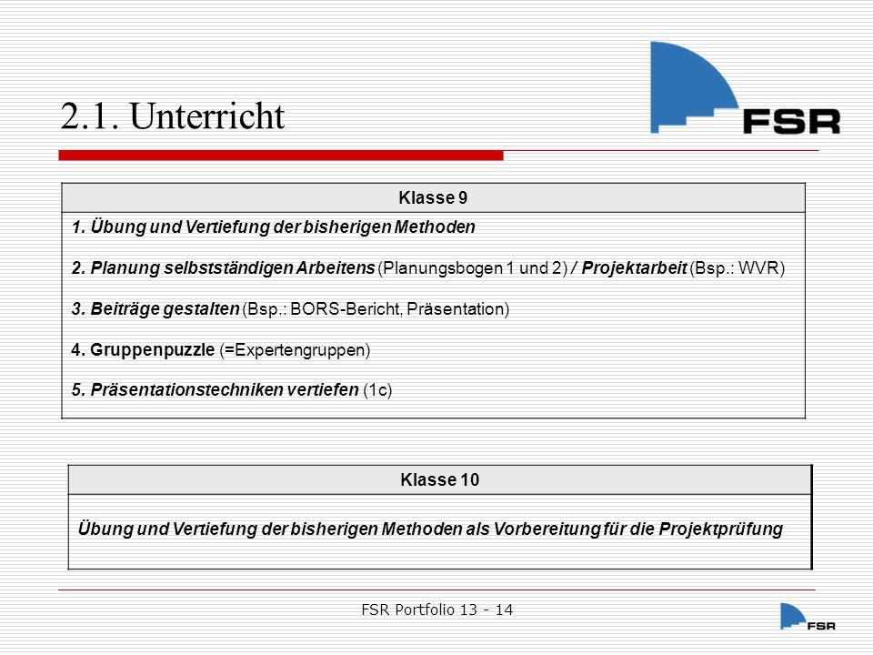 FSR Portfolio 13 - 14 2.1.Unterricht 2.1.1.7.