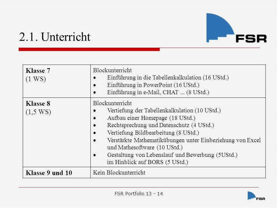 FSR Portfolio 13 - 14 2.1.Unterricht 2.1.1.9.