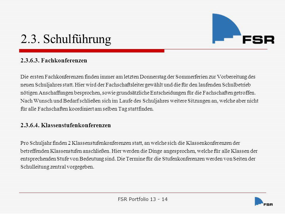 FSR Portfolio 13 - 14 2.3.Schulführung 2.3.6.5.