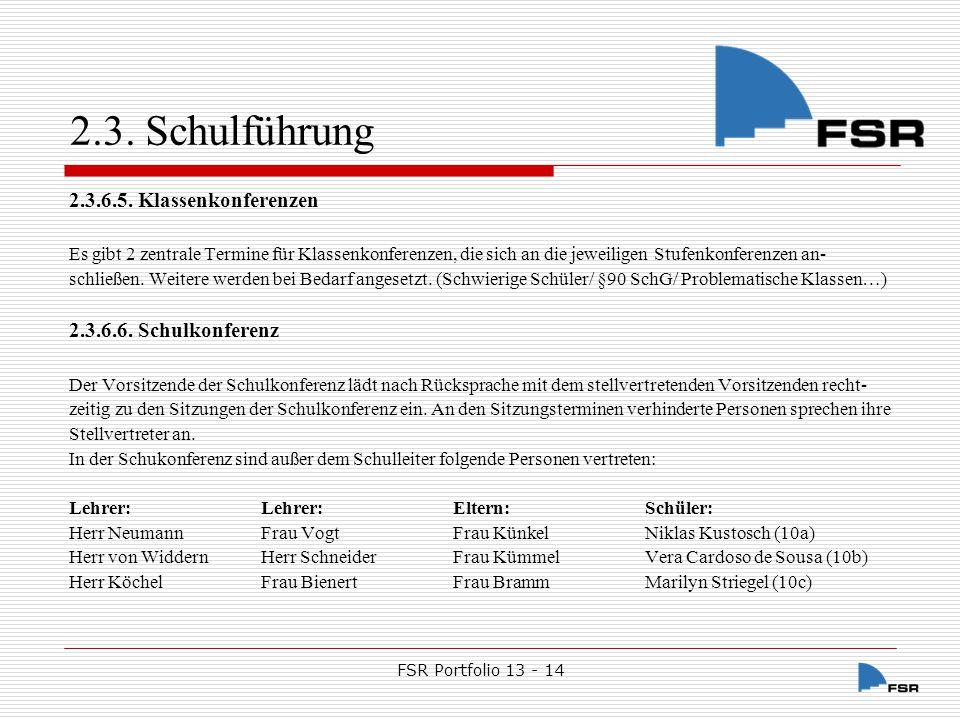 FSR Portfolio 13 - 14 2.3.