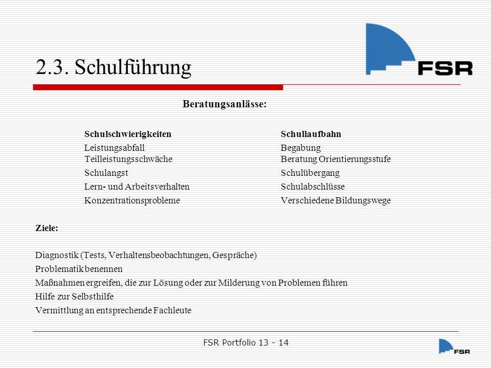 FSR Portfolio 13 - 14 2.3.Schulführung 2.3.8.3.